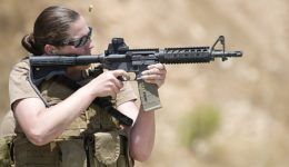 us navy seal in training with firearms