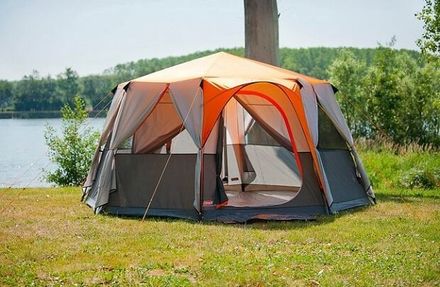 cortes octagon 8 man luxury tent orange